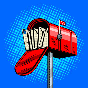 Letter box comic book style vector illustration