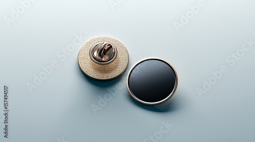 Blank black round gold lapel badge mock up, front and back