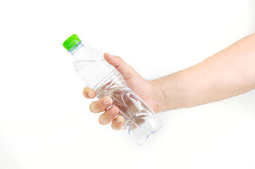 Man Hand Holding Bottle Of Water With Green Cap Isolated On White Background
