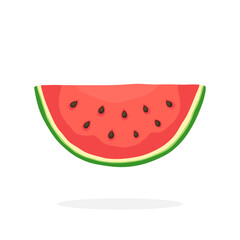 Vector illustration in flat style. Watermelon slice. Healthy vegetarian food. Decoration for greeting cards, prints for clothes, posters, menus