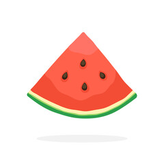 Vector illustration in flat style. Quarter of watermelon. Healthy vegetarian food. Decoration for greeting cards, prints for clothes, posters, menus