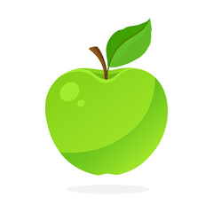 Vector illustration in flat style. Green apple with stem and leaf. Healthy vegetarian food. Decoration for greeting cards, prints for clothes, posters, menus