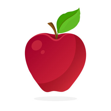 Vector illustration in flat style. Red apple with stem and leaf. Healthy vegetarian food. Decoration for greeting cards, prints for clothes, posters, menus