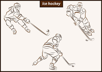 Set of a vector illustration shows a hockey player in attack. Ice Hockey
