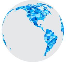 Blue mosaic geometric abstract globe.