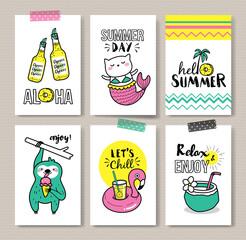 Set of fun summer holidays cards