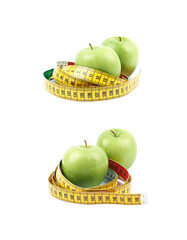Apples tied with the measuring tape
