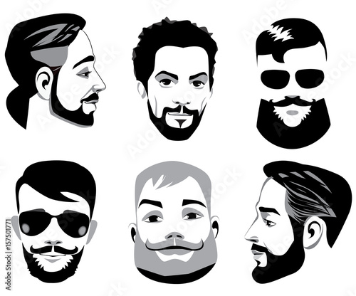 """""""vector Black And White Portraits Of Face Men With Beard"""