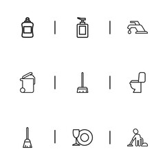 Set Of 9 Editable Dry-Cleaning Icons. Includes Symbols Such As Vacuuming Man, Dust, Lavatory And More. Can Be Used For Web, Mobile, UI And Infographic Design.
