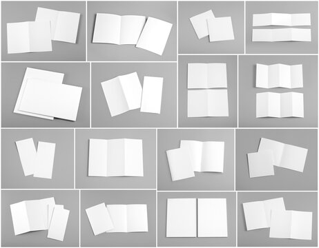blank white folding paper flyer on orange background