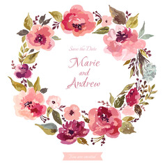 Template for invitation card with floral wreath
