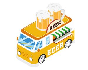 Modern Isometric Food Truck Vehicle - Beer Bar