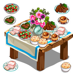 Festive table with delicious food and flowers