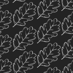 Seamless Pattern Of  Pinnatifid Leaves Hand Drawn Sketch Black Outline