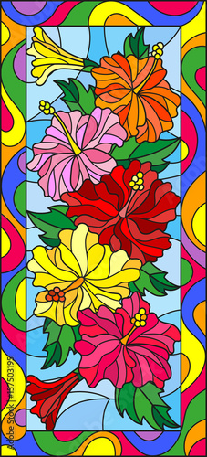 Illustration In Stained Glass Style With Flowers And Leaves Of