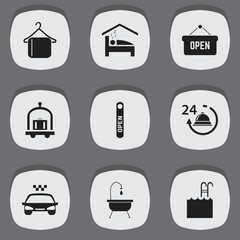 Set Of 9 Editable Hotel Icons. Includes Symbols Such As Open Sign, Bedroom, Reception And More. Can Be Used For Web, Mobile, UI And Infographic Design.