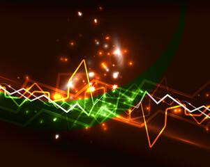 Neon lightning vector background