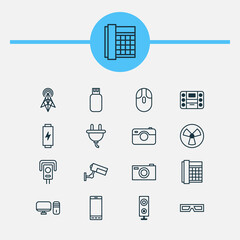 Gadget Icons Set. Collection Of Wireless Router, Socket, Usb And Other Elements. Also Includes Symbols Such As Energy, Loudspeaker, Electrical.