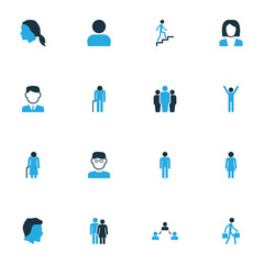Human Colorful Icons Set. Collection Of Group, Old, Oldster And Other Elements. Also Includes Symbols Such As Data, Rejoicing, Lover.