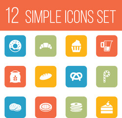 Set Of 12 Cooking Icons Set.Collection Of Dessert, Snack, Shortcake And Other Elements.