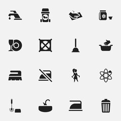 Set Of 16 Editable Hygiene Icons. Includes Symbols Such As Plate, Chores, Warning And More. Can Be Used For Web, Mobile, UI And Infographic Design.