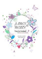 Wedding invitation card. Floral background greeting card