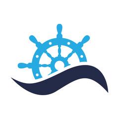 Icono plano timon con ola azules en fondo blanco