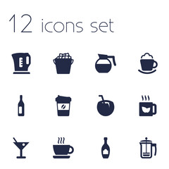 Set Of 12 Beverages Icons Set.Collection Of Electric Teapot, Hotdrink, Cream And Other Elements.