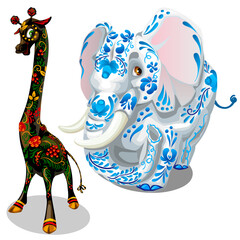 Giraffe and elephants painted figurines. Vector