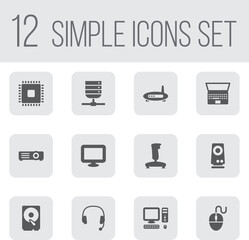 Set Of 12 Laptop Icons Set.Collection Of Show, Hard Disk, Notebook And Other Elements.