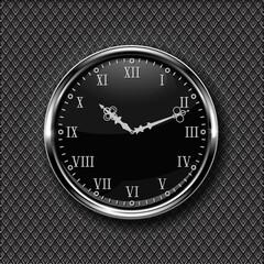 Clock. Black round clock with roman numerals