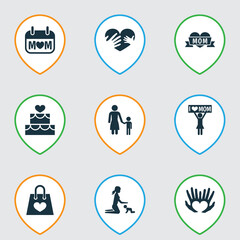 Mothers Day Icon Design Concept. Set Of 9 Such Elements As Palms, Hands, Pastry. Beautiful Symbols For Shopping, Palm And Playing.