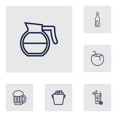 Set Of 6 Beverages Outline Icons Set.Collection Of Bottle, Lime, Cocos And Other Elements.