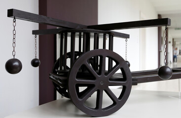 A reproduction of a mower with cannonballs designed by Leonardo da Vinci is pictured in Bruges