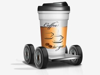 Kaffee to go, Kaffeebecher auf Räder, freigestellt