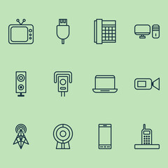 Device Icons Set. Collection Of Web Discussing, Television, Work Phone And Other Elements. Also Includes Symbols Such As Telephone, Security, Video.