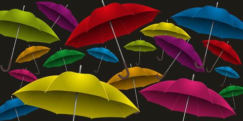 parapluie - fond - arrière plan - coloré - multicolore - couleurs - volant - vent