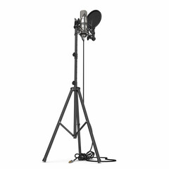 microphone with full height microphone stand isolated on white. 3D illustration