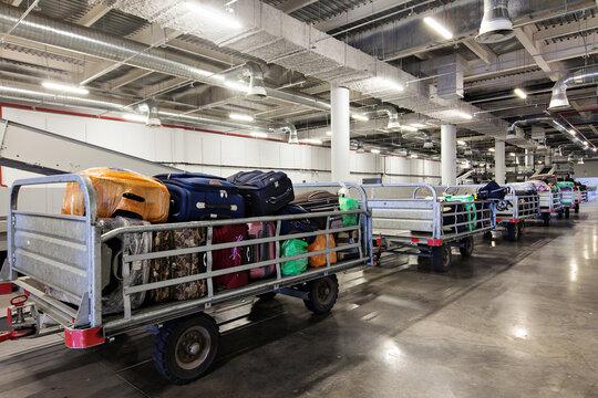 Baggage sorting department at the airport