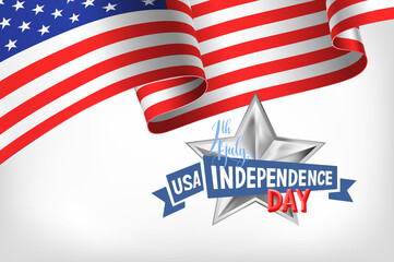 4th july USA independence day banner with american flag