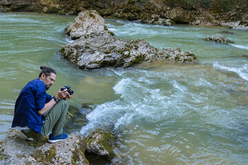 Photographing a mountain river