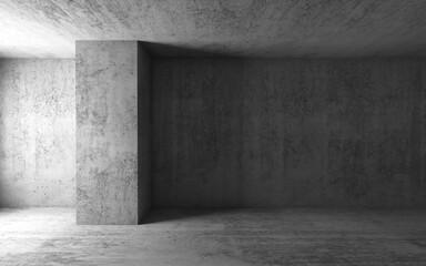 3d background, empty gray concrete room interior