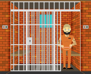 Prisoner, flat vector illustration of prison cell