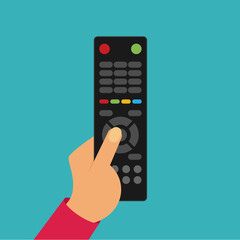 Human hand with black remote TV Control. Flat vector.