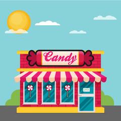 Facade of candy shop flat vector.
