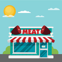 Facade of meat shop flat vector.