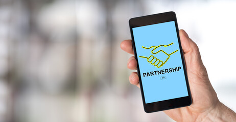 Partnership concept on a smartphone