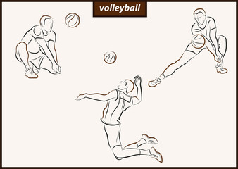 Set of a vector illustration shows a volleyball player returns the ball. Sport. Volleyball