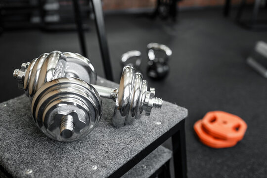 Close-up of dumbbells in the gym