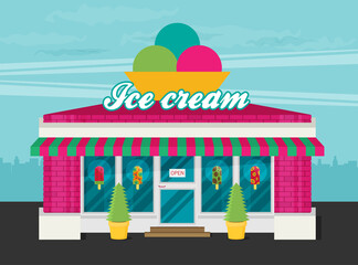 Facade of ice cream shop flat vector.